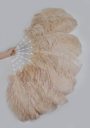 "Beige Camel Glittery LED Shine Bushy Double Ostrich Feather Fans Burlesque 28""x 53"""