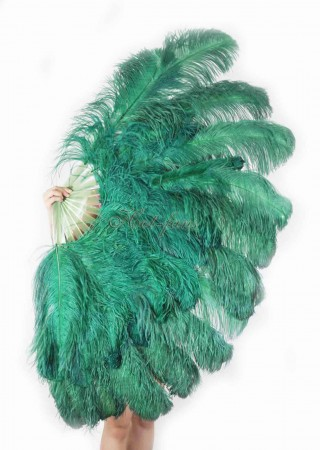 "Forest green XL 2 layers Ostrich Feather Fan Burlesque dancer friends 34""x 60"" with leather travel Bag"