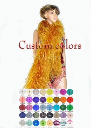 "custom colors 12 ply Luxury Ostrich Feather Boa 71""long (180 cm)"