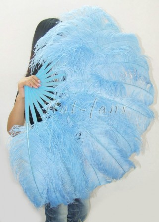 "Sky blue single layer Ostrich Feather Fan 25""x 45"" with leather travel Bag"