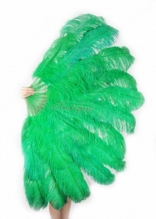 "emerald green XL 2 layers Ostrich Feather Fan Burlesque dancer friends 34""x 60"" with leather travel Bag"