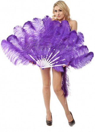 "violet 2 layers Ostrich Feather Fan Burlesque dancer friends 30""x 54"" with leather travel Bag"