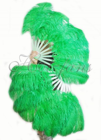 "A pair emerald green Single layer Ostrich Feather fan 24""x 41"" with leather travel Bag"