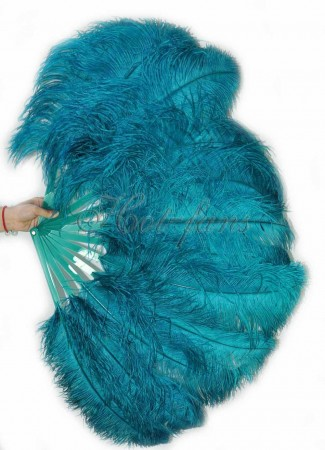 "Teal single layer Ostrich Feather Fan 25""x 45"" with leather travel Bag"