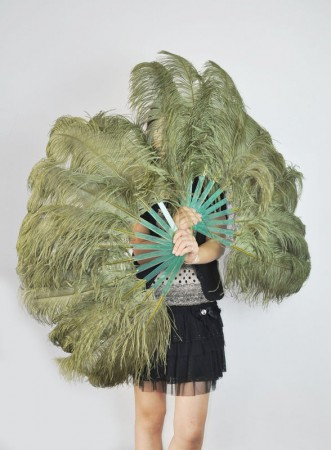 "A pair olive drab Single layer Ostrich Feather fan 24""x 41"" with leather travel Bag"