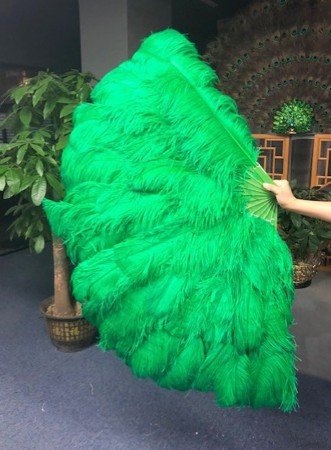 """Burlesque friend green 3 Layers Ostrich Feather Fan 65"""" with Travel leather Bag"""