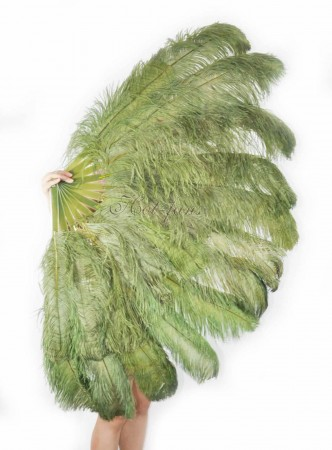"olive green XL 2 layers Ostrich Feather Fan Burlesque dancer friends 34""x 60"" with leather travel Bag"