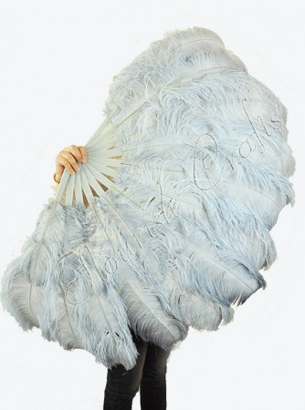 "Light gray 2 layers Ostrich Feather Fan Burlesque dancer friends 30""x 54"" with leather travel Bag"