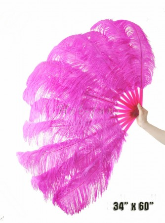 "Hot pink XL 2 layers Ostrich Feather Fan Burlesque dancer friends 34""x 60"" with leather travel Bag"