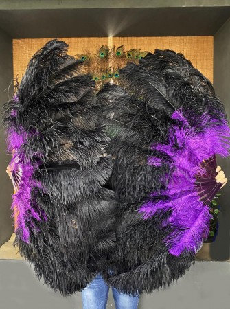 """Mix black & Dark purple 2 layers Ostrich Feather Fan  30""""x 54"""" with leather travel Bag"""