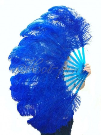 "Royal blue single layer Ostrich Feather Fan 25""x 45"" with leather travel Bag"