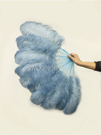 "A pair baby blue Single layer Ostrich Feather fan 24""x 41"" with leather travel Bag"