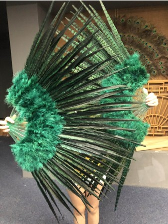"Forest Green  Marabou and Pheasant Feather Fan 29""x 53"" with Travel leather Bag"