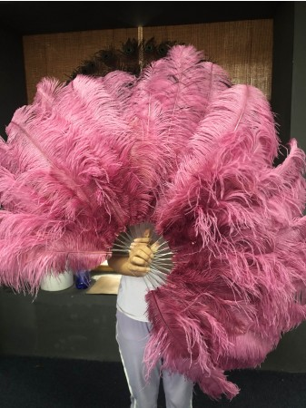 "fuchsia 2 layers Ostrich Feather Fan Burlesque dancer friends 30""x 54"" with leather travel Bag"