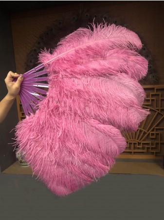 "A pair fuchsia Single layer Ostrich Feather fan 24""x 41"" with leather travel Bag"