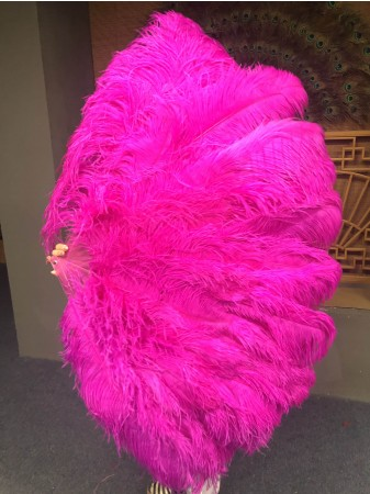 """Burlesque friend hot pink 3 Layers Ostrich Feather Fan 65"""" with Travel leather Bag"""