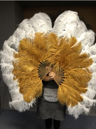 Mix topaz and white Large XL 2 Layer Ostrich Feather Fan 34''x 60'' with Travel leather Bag