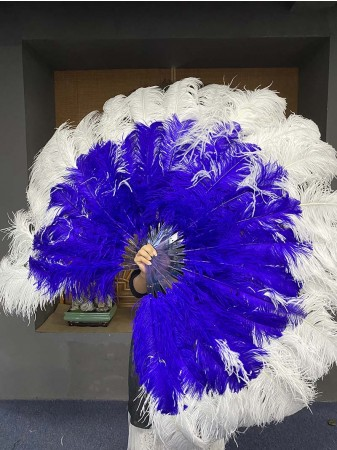 Mix Royal Blue & white Large XL 2 Layer Ostrich Feather Fan 34''x 60'' with Travel leather Bag