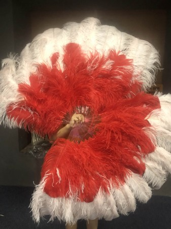 Mix Blush and red Large XL 2 Layer Ostrich Feather Fan 34''x 60'' with Travel leather Bag