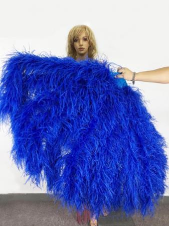 """Burlesque Royal Blue Waterfall Fan Fluffy Ostrich Feathers Boa Fan 42""""x 78"""""""