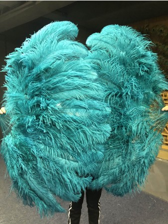 "Teal XL 2 layers Ostrich Feather Fan Burlesque dancer friends 34""x 60"" with leather travel Bag"