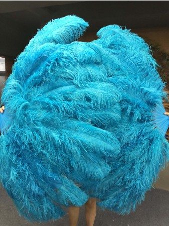 "turquoise XL 2 layers Ostrich Feather Fan 34""x 60"" with leather travel Bag"
