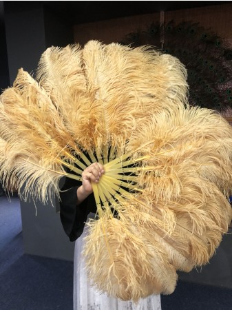 "A pair wheat Single layer Ostrich Feather fan 24""x 41"" with leather travel Bag"