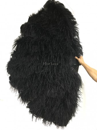 Black Luxury 4 Layers  Ostrich Feather Fan fluffy with Boa Opened 67'' Burlesque