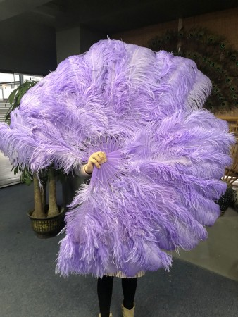 "Aqua violet 2 layers Ostrich Feather Fan Burlesque dancer friends 30""x 54"" with leather travel Bag"
