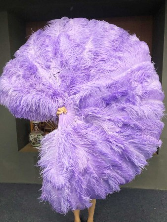 """Aqua violet XL 2 layers Ostrich Feather Fan 34""""x 60"""" with leather travel Bag"""