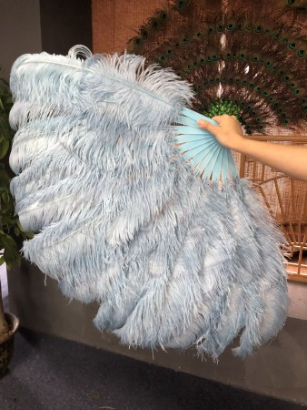 "Baby blue 2 layers Ostrich Feather Fan 30""x 54"" with leather travel Bag"