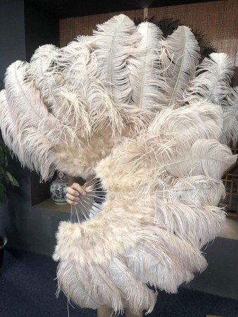 "beige camel Ostrich & Marabou Feathers fan Burlesque dance with Travel leather Bag 24""x43"""