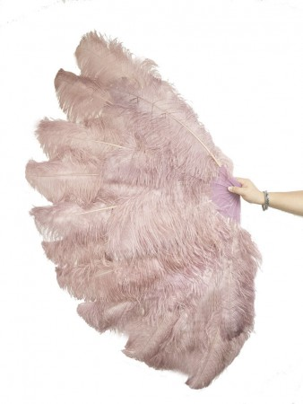 "Beige wood XL 2 layers Ostrich Feather Fan Burlesque dancer friends 34""x 60"" with leather travel Bag"