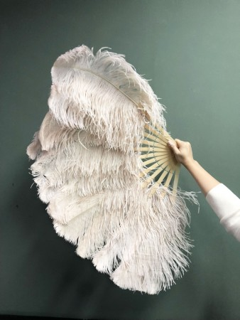 """Beige camel single layer Ostrich Feather Fan 25"""" x 45""""  with leather travel Bag"""