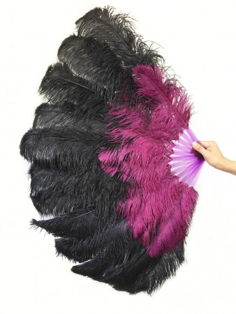 Mix black and purple Large XL 2 Layer Ostrich Feather Fan 34''x 60'' with Travel leather Bag