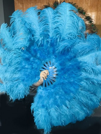 "turquoise Ostrich & Marabou Feathers fan Burlesque dance with Travel leather Bag 24""x43"""