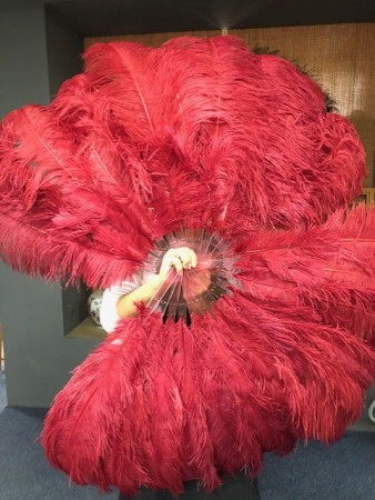"burgundy 2 layers Ostrich Feather Fan Burlesque dancer friends 30""x 54"" with leather travel Bag"