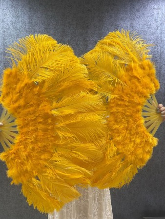 """Gold yellow Marabou Ostrich Feather fan  21""""x38"""" with Travel leather Bag"""
