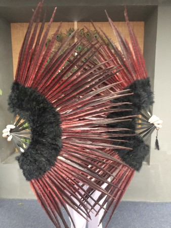 "Black Marabou and red Pheasant  Feather Fan 29""x 53"" with Travel leather Bag"