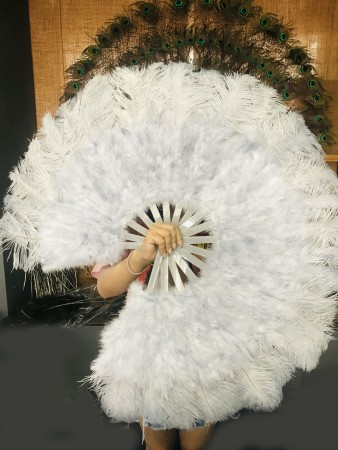 "Light gray Marabou Ostrich Feather fan primary Burlesque Dance 21""x38"" with Travel leather Bag"