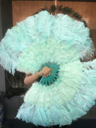 "Mint Green Marabou Ostrich Feather fan primary Burlesque Dance 21""x38"" with Travel leather Bag"