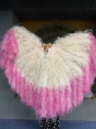 """Bulsh tips dyeing Fuchsia Waterfall Fan Fluffy Ostrich Feathers Boa Fan 42""""x 78"""""""