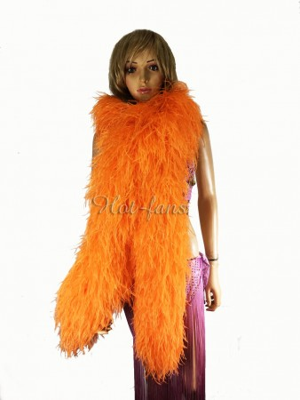 "Orange 20 plys full and fluffy Luxury Ostrich Feather Boa 71""long (180 cm)"