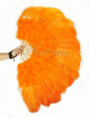 "orange Ostrich & Marabou Feathers fan 27""x 53""  with Travel leather Bag"