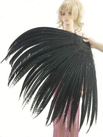 "Black Luxury 71"" Tall huge Pheasant Feather Fan  Burlesque Perform Friend"