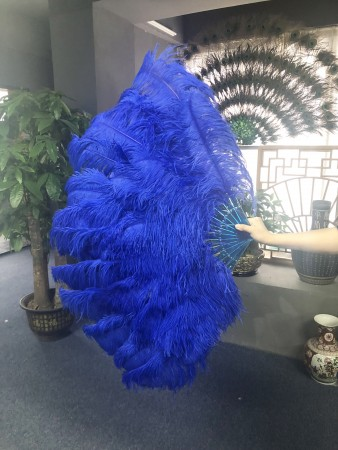 "Royal blue XL 2 layers Ostrich Feather Fan 34""x 60"" with leather travel Bag"