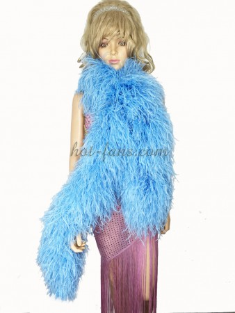 "Sky blue 20 plys full and fluffy Luxury Ostrich Feather Boa 71""long (180 cm)"
