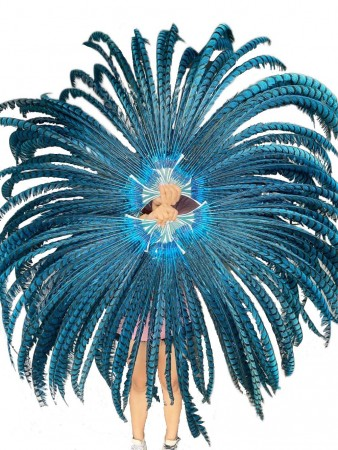 """Teal Luxury 80"""" Tall huge Pheasant Feather Fan"""