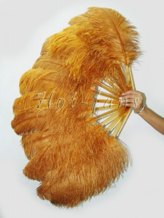 "Topaz single layer Ostrich Feather Fan 25""x 45"" with leather travel Bag"