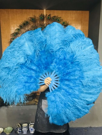 """turquoise Ostrich & Marabou Feathers fan 27""""x 53"""" with Travel leather Bag"""